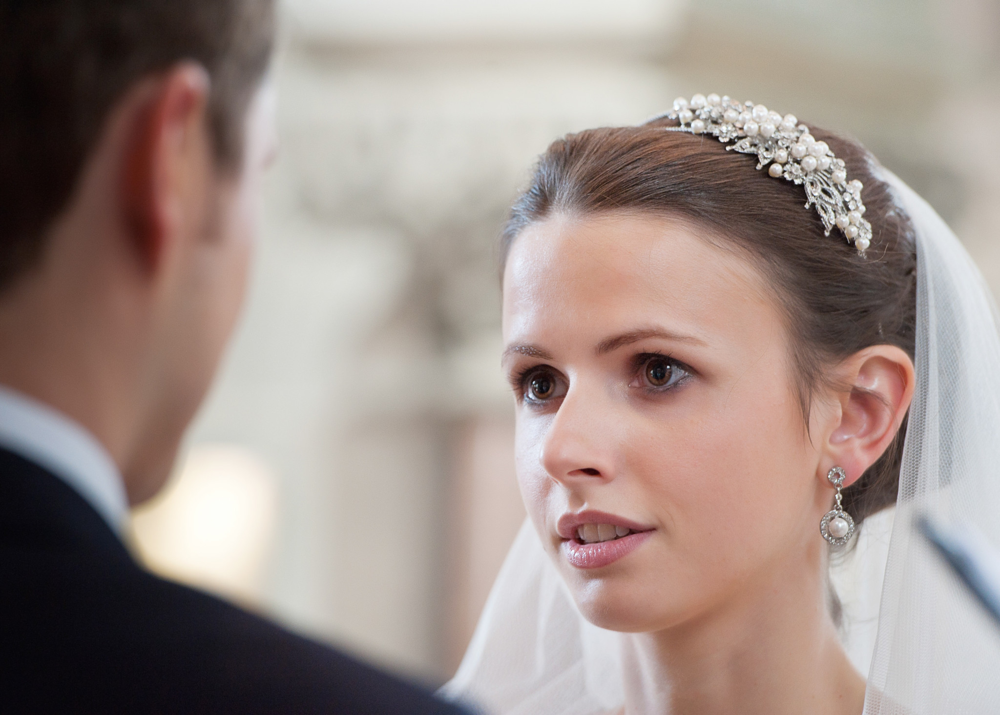 Wedding photograph - close up of the bride