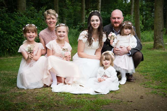 Wedding photography - family shot in the grounds of Lineham Farm