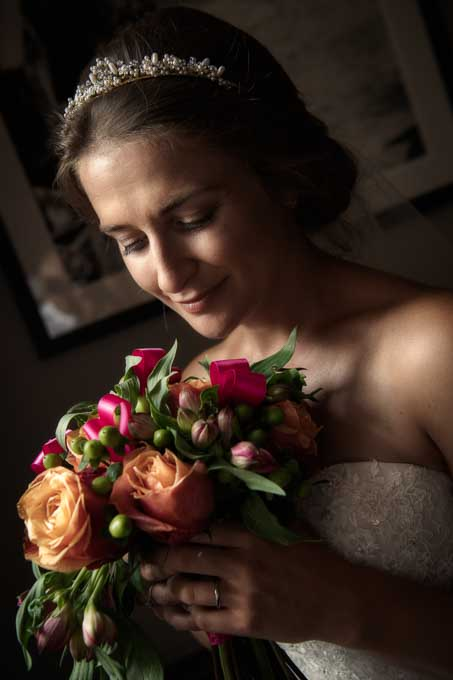 Wedding photograph - close up of the bride with bouquet